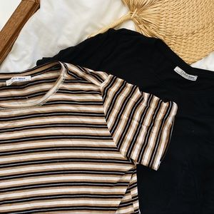 Zara Trafaluc t-shirt bundle black and stripes